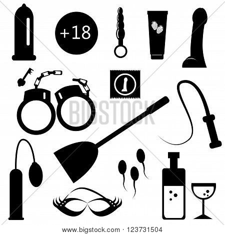 Vector illustrated cartoon black sex icons on white background.