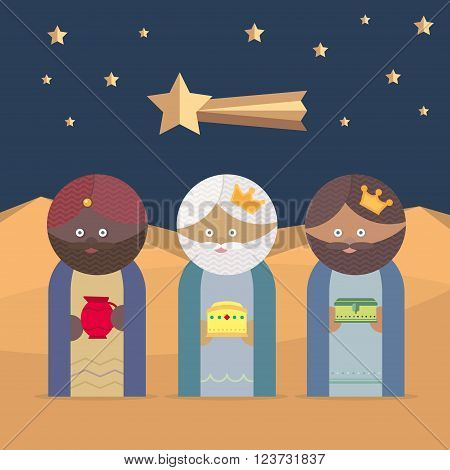The three Kings of Orient wisemen illustration