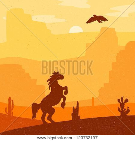 Retro Wild West galloping horse in desert. Vintage sunset in prairie with mustang cacti and eagle in sky. Grunge old texture. Natural Landscape for print poster illustration sticker. Vector