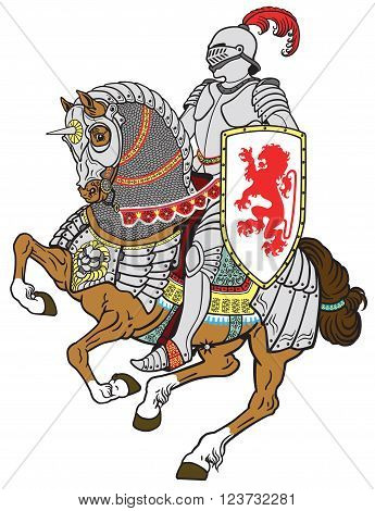 medieval knight riding armored horse in gallop
