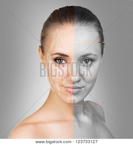 Portrait of the woman face with sements on the gray background. Before and after makeup concept.