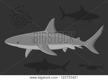 Sharks in the deep sea. Black and white illustration. Vector.