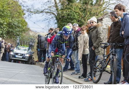 Conflans-Sainte-Honorine, France-March 62016: The Spanish cyclist Ion Izagirre of Movistar Team riding during the prologue stage of Paris-Nice 2016.
