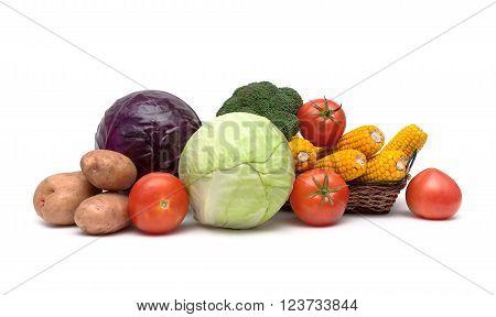 still life of fresh vegetables on a white background. horizontal photo.