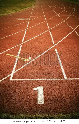 White marks. White lines and texture of running racetrack, red rubber racetracks in outdoor stadium