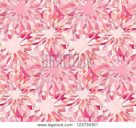 Seamless floral pattern with pink guilloche flowers. Corundum crystal seamless guilloche pattern or background. Vector illustration