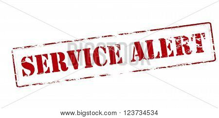 Rubber stamp with text service alert inside vector illustration