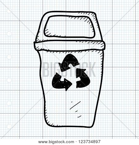 Simple Doodle Of A Recycling Bin