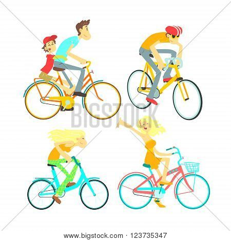 People On Bikes Set Of Isolated Images In Flat Vector Cartoon Style Design