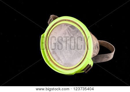 Picture of a Classic Old Vintage Green Scuba Diving Mask