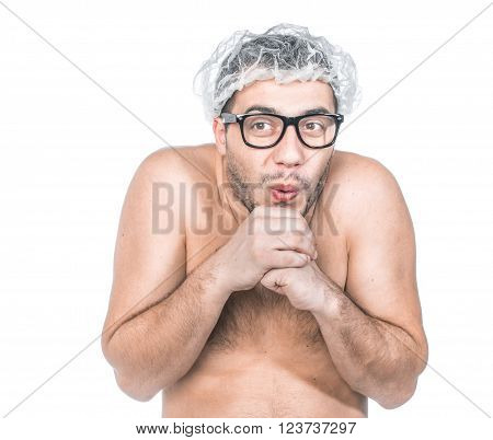 Funny bare man ready for bathing. Close up of loony guy, isolated on white background, studio shot.