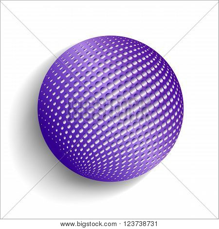 3D illustration bright colored sphere with Halftone-Effect. Isolated object for design on a white background with soft shadow