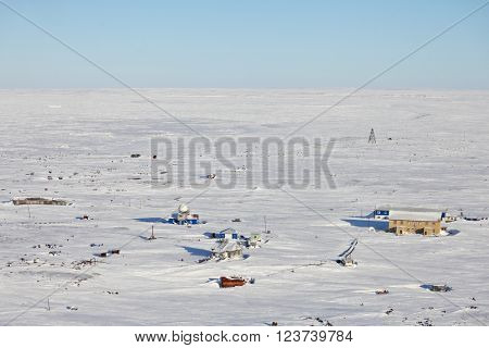 Abandoned polar station in Arctic