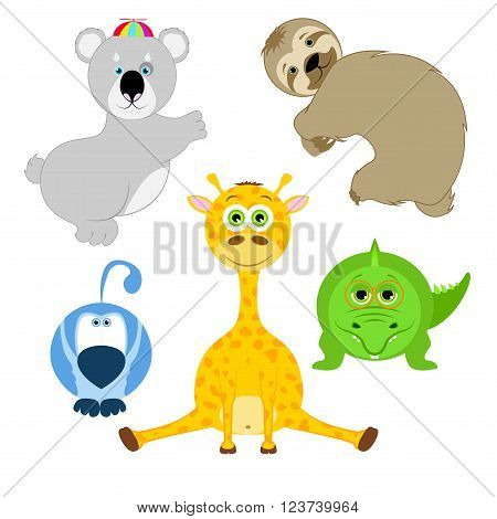 Animals in cartoon style isolated on white background