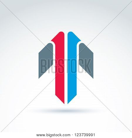 Vector abstract emblem with colorful arrow, up direction sign pointer.