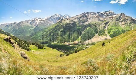 Panorama of the Caucasus Mountains. Elbrus area.