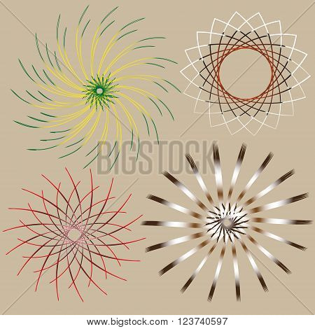 Picture set of four bright circular openwork effect  Set of four bright circular openwork effect for decoration and design on pastel background