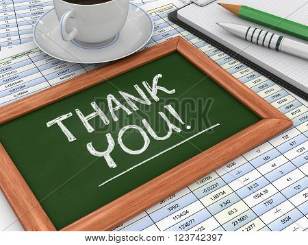 Image of Blackboard with Thank you. Three-dimensional Shape