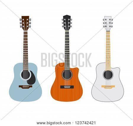 Acoustic guitars on white. Set of 3.