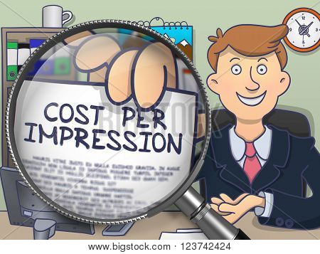 Man Showing Concept on Paper - Cost Per Impression. Closeup View through Magnifier. Multicolor Modern Line Illustration in Doodle Style.