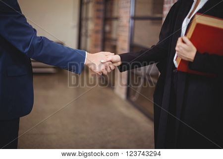 Midsection of female lawyer handshaking with client while standing in office
