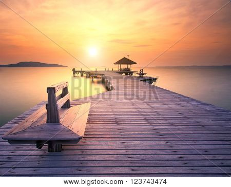 The long bridge over the sea with a beautiful sunrise, Rayong, Thailand