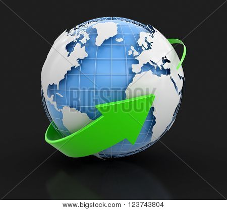 Globe. Image with clipping path. Three-dimensional Shape