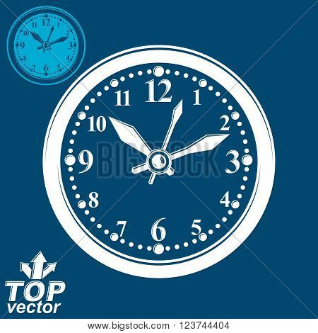 Simple vector wall clock with stylized white clockwise. Business time idea classic graphic symbol. Web design element isolated on dark background.