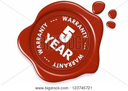 Five year warranty seal isolated on white background image with hi-res rendered artwork that could be used for any graphic design.