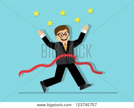 Businessman running at the finish line with a red ribbon and enjoys his victory and success