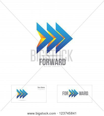 Vector company logo icon element template arrow 3d forward moving concept