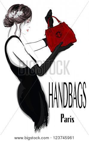 Fashion woman model in black dress with handbag - vector illustration