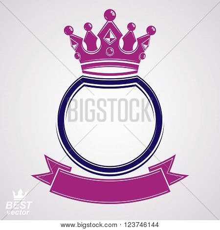 Vector circle with 3d decorative royal crown and festive ribbon luxury coat of arms. Heraldic coronet symbol best for graphic and web design.