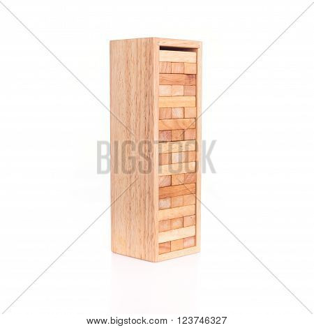 Close up blocks wood game isolated on white background