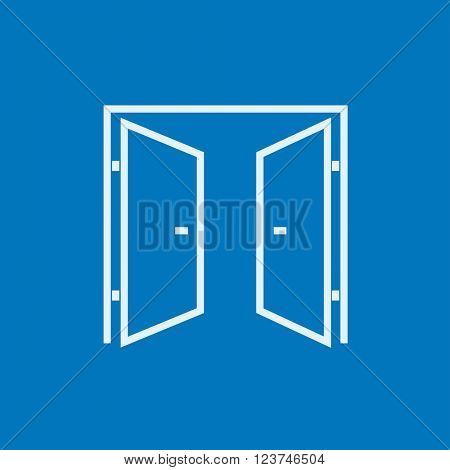 Open doors line icon.