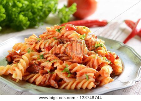 Pasta With Hot Tomato Sauce And Chili Pepper