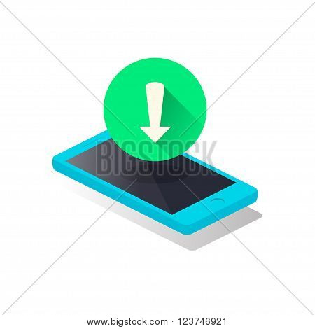 Mobile Phone and Geen Arrow Download Icon. Vector modern design isometric style