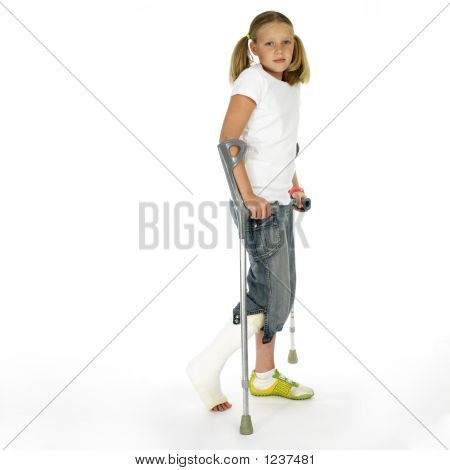 Girl With A Broken Leg On Crutches