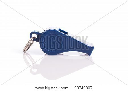 New Blue Whistle Isolated On White Background