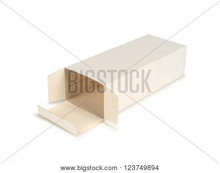 Cardboard box with flip open lid lid open isolated on white.