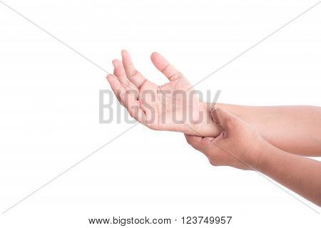 Close Up Woman's Hand Holding Her Wrist Isolated On White . Wrist Pain Concept.