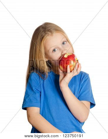 Beautiful Girl  Is Eating The Apple On White Background