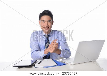 businessman working on laptop, young business man happy smile sitting