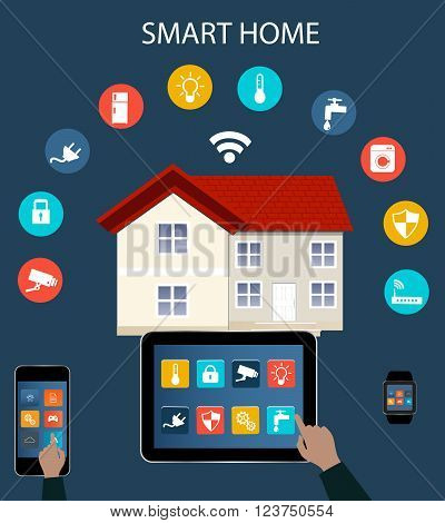 Smart phone Tablet Smartwatch and Internet of things concept.Smart Home Technology Internet networking concept. Internet of things/Smart home automation