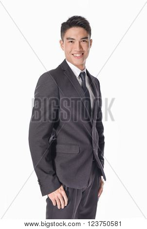 Business young man of Asian, portrait isolated