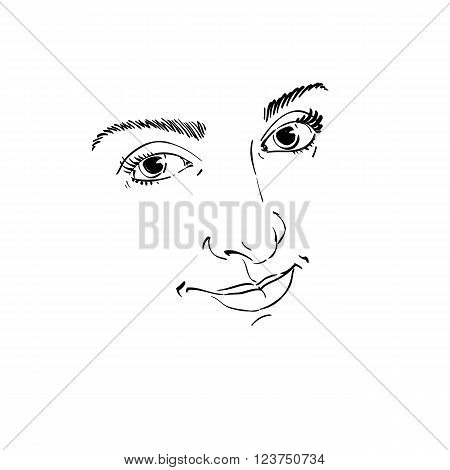 Facial Expression, Hand-drawn Illustration Of Face Of Delicate Good-looking Girl With Positive Emoti