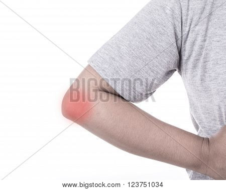 Close Up Woman's Hand Holding Her Elbow Isolated On White. Elbow Pain Concept.