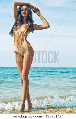 Sensual Lady At Beach