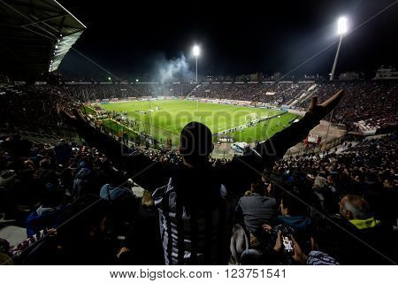 Thessaloniki Greece - March 02 2016: View of the Toumba Stadium full of fans of PAOK during the semifinal Greek Cup game between PAOK and Olympiacos played at Toumba stadium