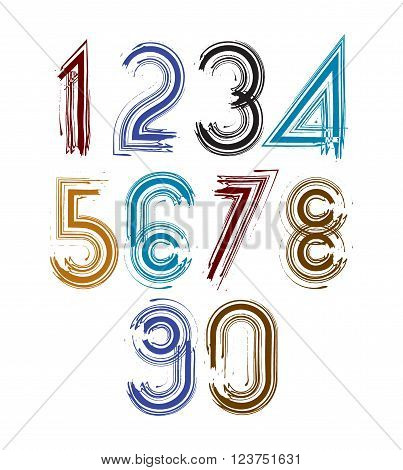 Calligraphic brush numbers with stripes hand-painted bright vector numeration.